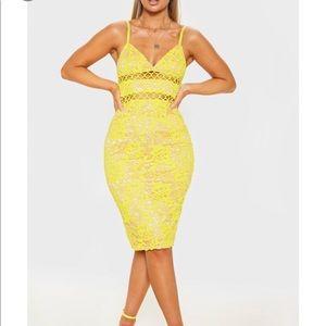 Pretty Little Thing Yellow Lace Cami Midi Dress